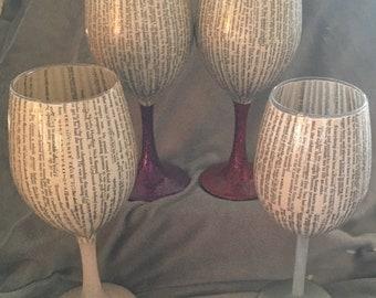 Bookish Wine Glasses
