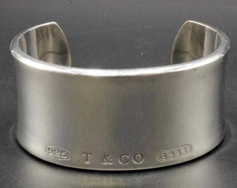 9b6265159 Authentic Tiffany & Co 1837 Sterling Silver wide cuff band