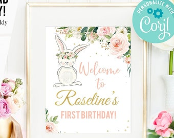Bunny Welcome Sign Etsy