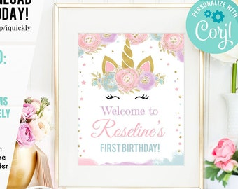 Printable Welcome Sign Watercolor Flowers Unicorn Rainbow Theme DIGITAL FILES Birthday Party Door sign Personalized Signage 10-090