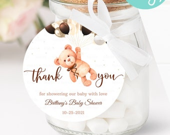 Baby Shower Favor Tags with Teddy Bear for Baby Girl Thank You Gifts