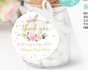 Editable Pumpkin Baby Shower Favor tags, Pink and gold Little pumpkin Thank you tags Gift tags White pumpkin Theme Digital download Template