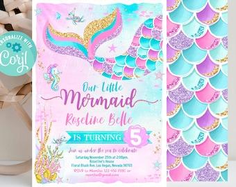 Editable Mermaid Birthday Invitation, Mermaid Invite, Under the Sea Birthday Party, Printable template Digital Instant Download
