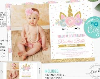 Editable Unicorn Invitation Party Photo Birthday Invitations Magical Invite Girl Gold Template Instant Download