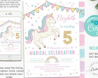 Editable Unicorn Invitation Unicorn Party, Unicorn Birthday, Magical Unicorn Invite, Girl Pastel gold Template Digital Instant Download