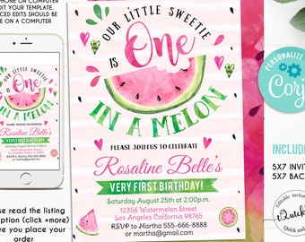 Editable Watermelon Invitation One In A Melon First Birthday Invitations Pink Party Invite Instant Download Printable Digital