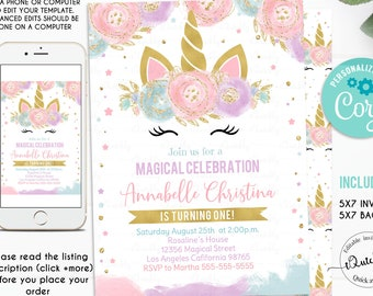 Unicorn Invitation Editable Party Birthday Invitations Magical Invite Girl Gold Template Digital Instant Download