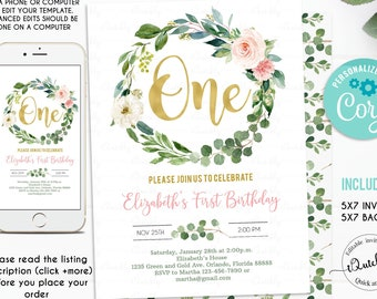 Greenery First Birthday Invitation EDITABLE Girl Blush Pink Floral 1st Eucalyptus Invite Green Gold Wreath Invitations Instant Download
