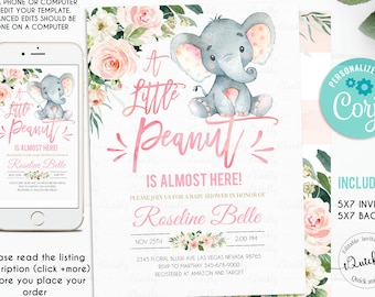 Elephant Baby Shower Invitation Girl, EDITABLE Pink Elephant Girl Baby Shower Invite, Invitations Printable template Instant download