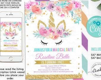 Unicorn Birthday Invitation EDITABLE Invite Party Magical Rainbow Instant Download