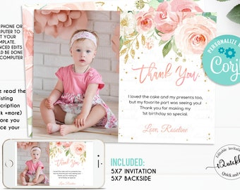 EDITABLE Blush Pink Floral Photo Thank You Card First Birthday Note Printable 1st Invite Template Girl One Instant Download