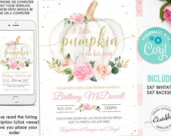 EDITABLE Pumpkin Baby Shower Invitation, Floral Pink and gold Girl little Pumpkin Baby Shower Invites, Fall Autumn Instant Download Template