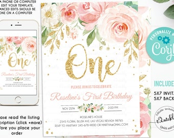 EDITABLE Blush Pink Floral Babys First Birthday Party Invitation Printable 1st Invite Template Boho Girl One Instant Download