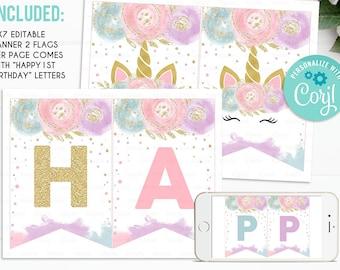 Unicorn Birthday Banner Printable Etsy