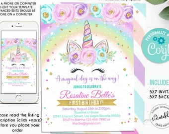 Rainbow Unicorn Birthday Invitation Editable Party Floral Magical Invite And Download Template Digital