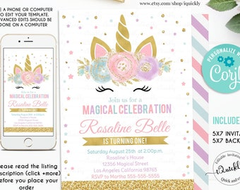 Editable Unicorn Invitation Party Birthday Invitations Magical Invite Girl Gold Template Digital Instant Download
