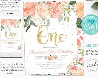 EDITABLE Peach Floral First Birthday Party Invitation Gold Glitter Printable 1st Template Girl One Instant Download
