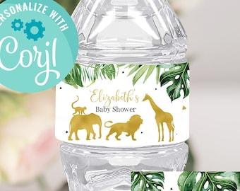 EDITABLE Jungle gold Baby Shower Bottle Label, Safari Water labels Printable Template, Wild One Lion Giraffe Elephant Boy Instant download