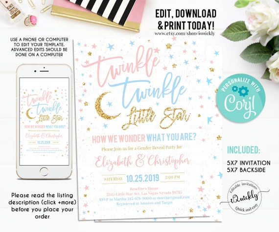 INSTANT DOWNLOAD Twinkle Twinkle Little Star Gender Reveal shower invitation template or Gender Neutral baby shower Invitation Template