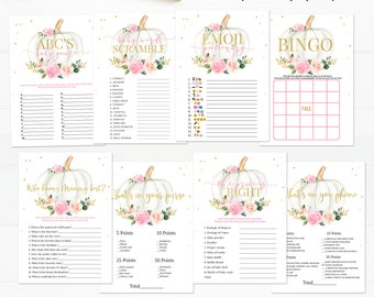 Pumpkin Baby Shower Games Bundle, Floral Pink and gold Girl little Pumpkin Game package Baby Shower Game Pack, Fall Autumn Instant Download