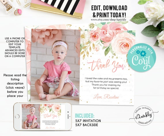 Birthday thank you message with baby pink floral design You can download customise and share instantly. Editable instant download