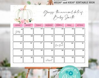 Editable Pumpkin Due Date Calendar, Pregnancy Announcement Calendar, Pink Guess Baby Birthday Calendar, Guess the Due Date Calendar