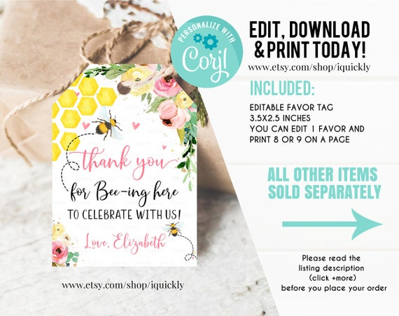 Honey Bee Thank You Favor Tags Party Printable