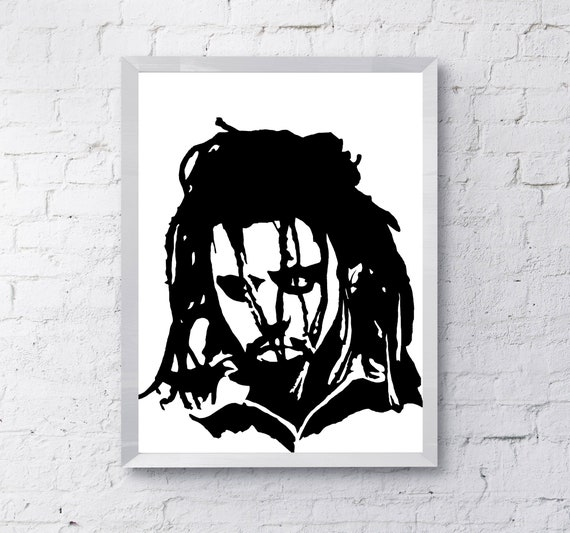 Hand Drawn J Cole Hip Hop Poster Art In Zwart Wit J Cole Etsy