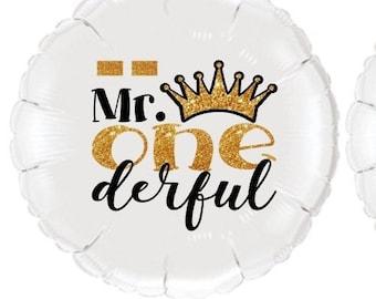 18 mylar balloon for 1st Birthday Mr One-derful Polka-Dot Bowtie