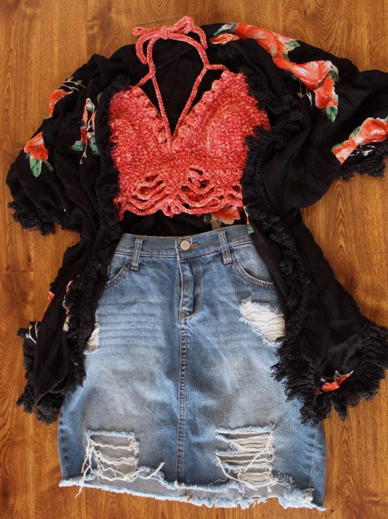Boho crop top Summer Halter Velvet Crochet Bralette Festival Outfit