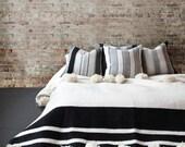 White Cotton Moroccan Pompom Blanket,bedroom blanket,moroccan throw blanket,pompom blanket, blanket White and Black stripes and pompoms