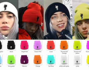 88052156 Billie Eilish Blohsh Beanie White Neon Fluorescent - Eilish Merch Logo Knit  Cuffed Beanie - Eilish Embroidery Hats&Caps - Eilish Winter Hat