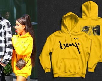 6f0f62ad2691 Ariana Grande Benji Hoodie Yellow - Benjamin Franklin Hoodie - Arianda  Grande Merch Apparel Clothes - Ariana Grande Sweatshirt Dress Outfit