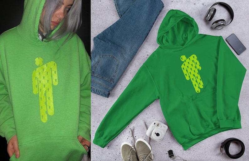 0ecffa3ce Billie Eilish Hoodie Green Eilish Merch Dresses & Clothing   Etsy