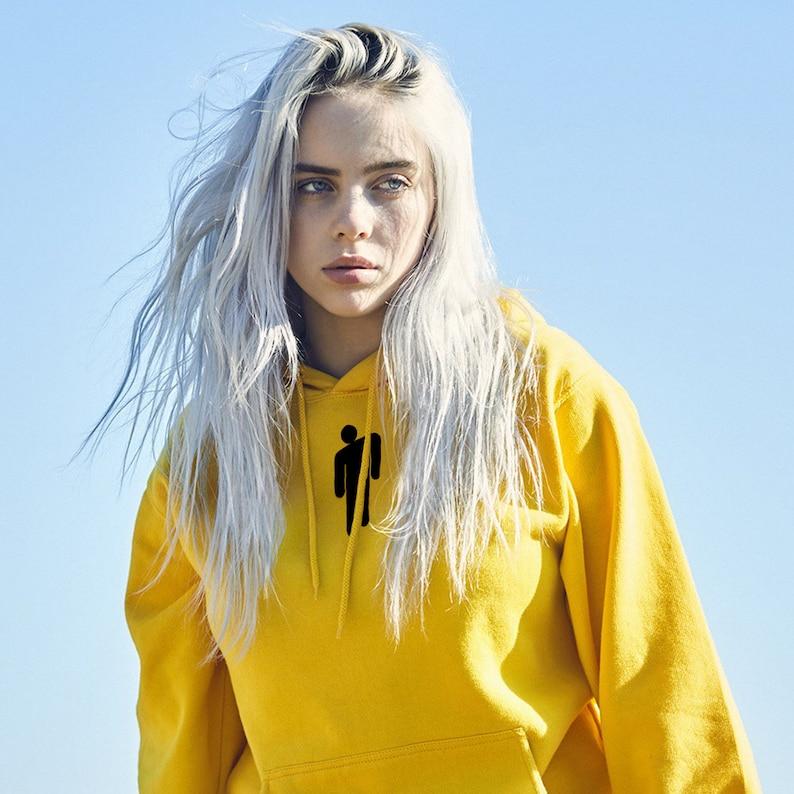 6366f41cc5c Billie Eilish Hoodie Sweatshirt Yellow Green Eilish Merch