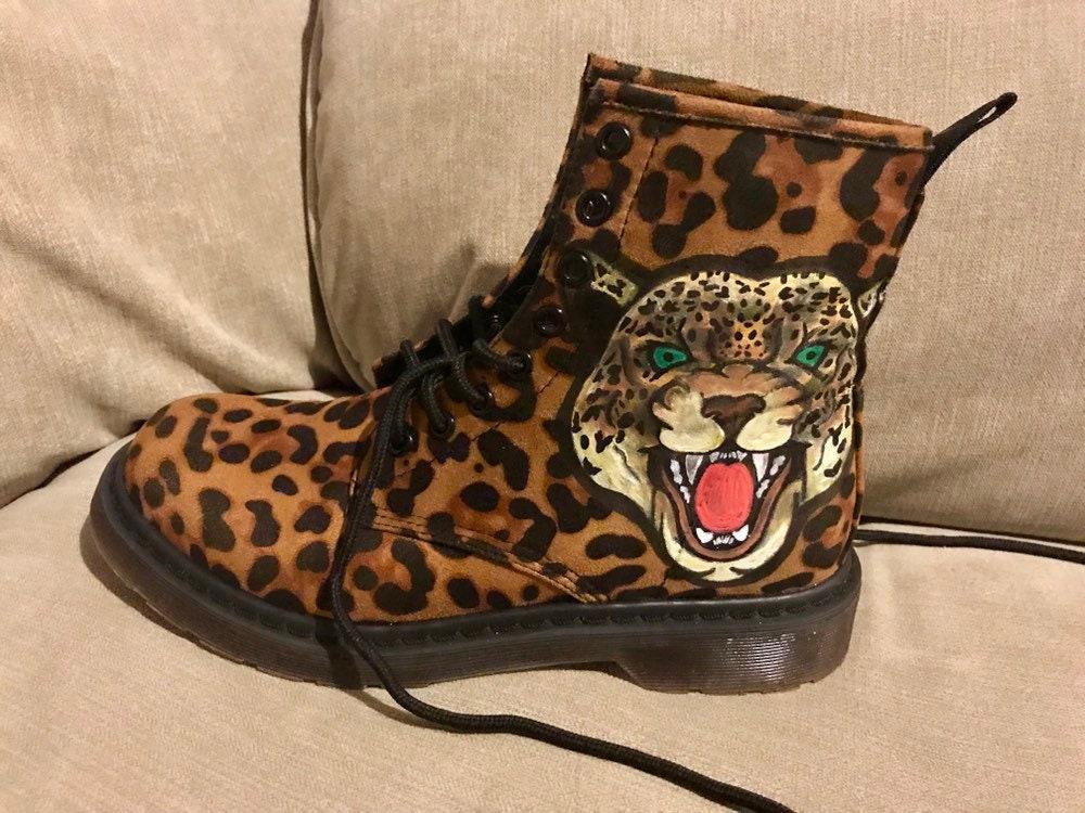 Leopard print Doc Marten style combat
