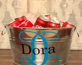 Personalized beverage party bucket. Several monogram styles available. We can also custom paint this item in any color