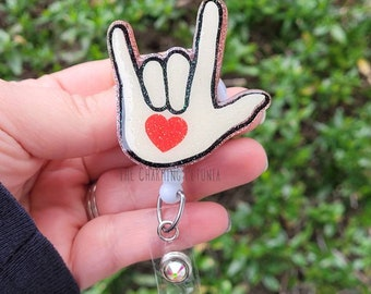 asl american sign language deaf Floral keychain or necklace or retractable ID badge clip Free shipping Gift