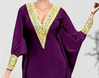 77a514e2d12a Party Wear Wine Lycra Kaftan Dress Hand Work Moroccan Bead African Dress