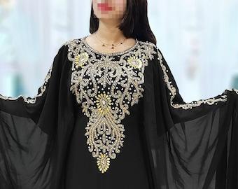 1a113c763c Dubai Kaftan for Women Beads Work Maxi Dress Gown Formal Chiffon African  Wear Black Kaftan