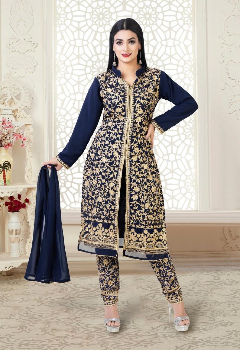 New Latest Golden Zari Work Anarkali Designer Anarkali With Dupatta For Party /& Wedding