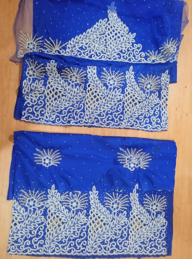 Nigerian Blue George Wrapper Heavy Beaded Stone Taffeta Silk George Fabric with Blouse