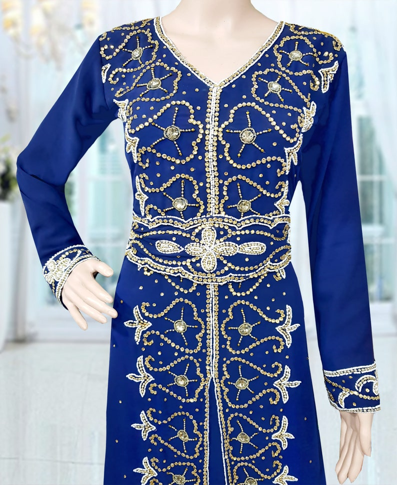 Women/'s Navy Blue Muslim Golden Beaded Abaya Jalabia Dubai Kaftan Dresses