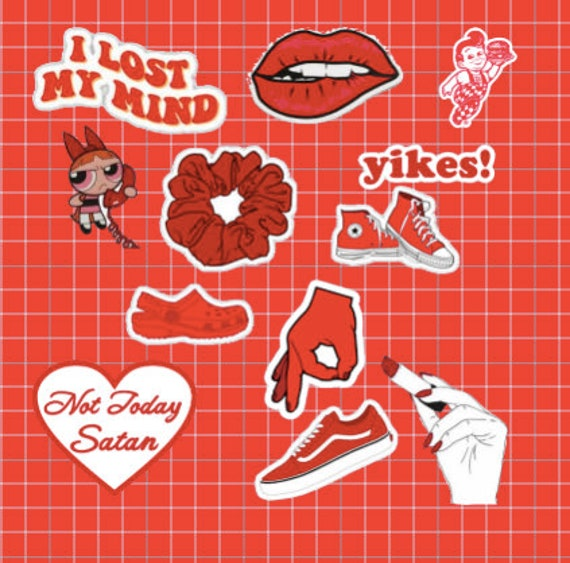 Red Aesthetic Sticker Pack