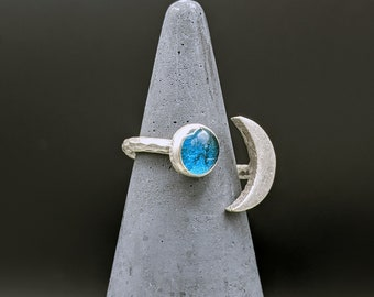 Silver moon and turquoise blue planet adjustable ring. Moon ring. Silver hammered ring.