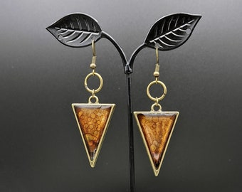 Translucent, metallic, brown, brass, antique bronze, triangle earrings. One of a kind. Fun and lightweight earrings. Boho.