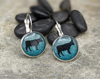 Silver, turquoise, and black cow small lever back earrings. Cow earrings. Cow jewelry.