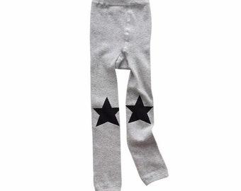 fd0dab904ea98 Footless Tights Leggings - Grey with Black Stars