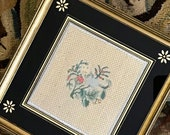 Antique Sampler English Georgian Needlework Picture Embroidered Flowers