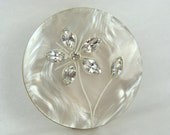 Vintage Lipstick Holder Mirror Compact 50s Mother of Pearl Rhinestone Flowers 1950s Vanity Glamorous Beautiful Pretty Vintage Makeup Bridal